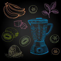 Set hand-drawn food ingredients on chalkboard. Hand drawn vector illustration. Set with elements smoothies, mint, ice, smoothies maker, banana.