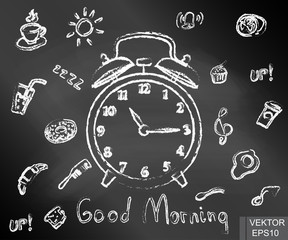 Contour. Chalk board. Alarm clock. Cup of coffee. Morning. Time. For your design.
