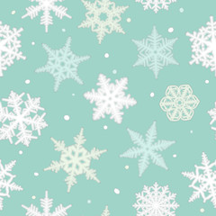 Seamless Christmas pattern from snowflakes. Vector illustration.
