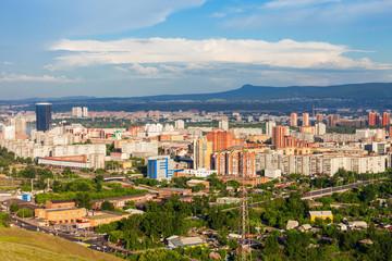 Krasnoyarsk aerial panoramic view