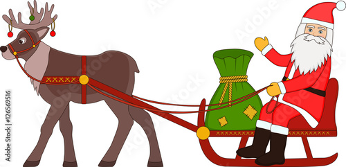 santa claus riding on a reindeer sleigh with bag of gifts stock