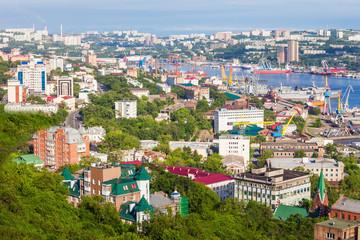 Vladivostok aerial panoramic view