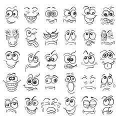 Hand drawn doodle cartoon faces emotion set