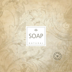 Vector background for natural handmade soap, decorative paper