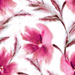 Watercolor Flowers Seamless Pattern. Hand Painted Floral Background.