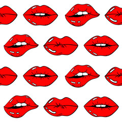 Seamless Pattern Of Red Sexy Female Lips.