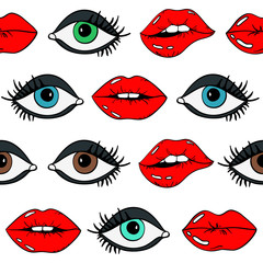 Seamless Pattern Of Female Eyes And Red Sexy Lips.