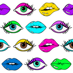 Seamless Pattern Of Female Eyes And Sexy Lips.