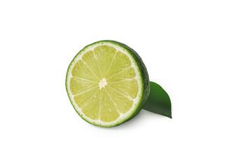 Fresh sliced lime fruits isolated on white background