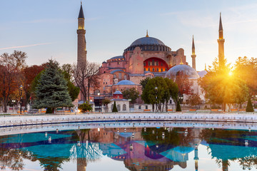 Hagia Sophia in Istanbul. The world famous monument of Byzantine architecture. View of the St. Sophia Cathedral at sunrise