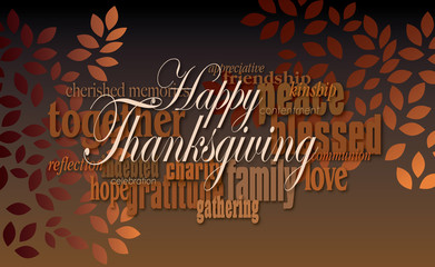 Happy Thanksgiving word montage with leaves/Graphic digital word montage illustration for possible use as Thanksgiving holiday greeting card