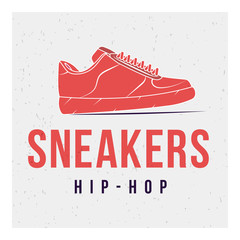 Red shoes on grey background and the words: sneakers and hip-hop. Vector image. The concept of street art. Vintage. Can be used as graffiti, prints, posters, printed materials.