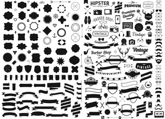 set of vintage styled design hipster icons Vector signs and symbols templates   phone, gadgets, sunglasses, mustache, ribbons infographcs element  other things