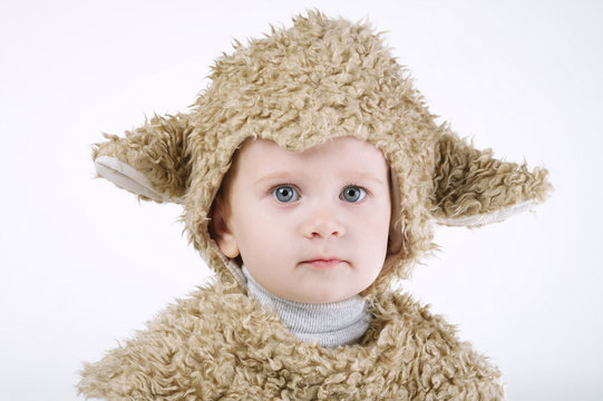 little boy with sheep costume