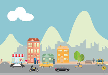 Vector Mountain, Road, and Townscape Illustration
