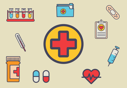 16 Flat Style Medical Icons