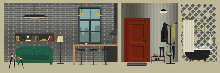 Apartment interior with bar in flat style.
