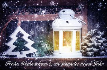 Weihnachtskarte, Laterne und Tannenbaum