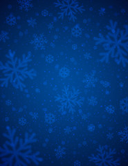 Blue  background with white blurred snowflakes, vector
