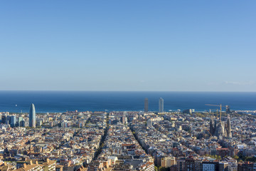 View of Barcelona, tower Agbar, the twin towers and The Sagrada Familia Basilica