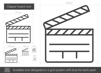 Clapper board line icon.