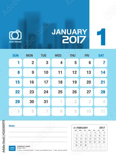 January Desk Calendar 2017 Blue Calendar 2017 Vertical Calendar