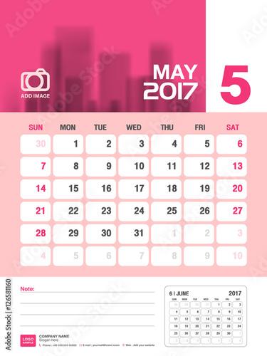 May Desk Calendar 2017 Pink Calendar 2017 Vertical Calendar Week