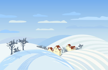 Countryside winter landscape. Farm houses silhouettes in snowy fields. Rural community among hills,  mountains with snow.  Country winding road. Village scene background. Vector Illustration
