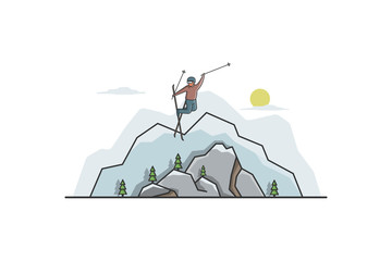 Freestyle skiing vector