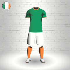 eps 10 vector football Ireland team player uniform template. National colors sportwear. Irish flag button chrome ring. Brick wall background