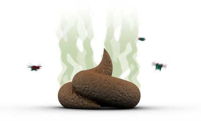 Smelly Poop with flies, 3d illustration