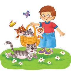 a cute boy holding a basket with three cute kittens, a cat and butterflies. Fine spring day. Illustration for children