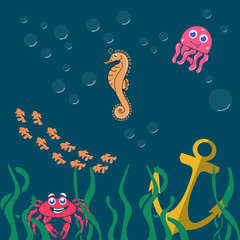 Vector image of sea world. Pictured: octopus, fish, anchor, seaweed, crab, bubbles. The cartoon style. Unique work for your business.