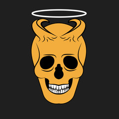 Vector image of an orange skull with horns on a black background. The demon head over to the halo.