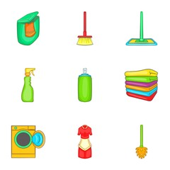 House cleaning icons set. Cartoon illustration of 9 house cleaning vector icons for web
