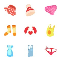 Clothing icons set. Cartoon illustration of 9 clothing vector icons for web