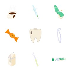 Dentist icons set. Cartoon illustration of 9 dentist vector icons for web