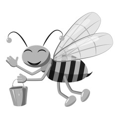 Bee with bucket of honey icon. Gray monochrome illustration of bee vector icon for web design