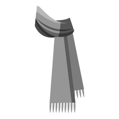 Winter scarf icon. Gray monochrome illustration of scarf vector icon for web design