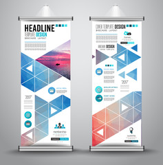 Advertisement roll up business flyer or brochure banner