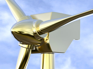 3D Isolated Close Up Golden Electric Windmill. Eolic Ecology Ene
