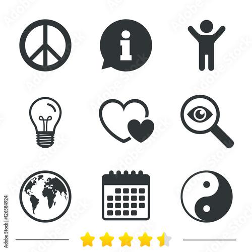 World Globe Icon Ying Yang Sign Hearts Love Sign Peace Hope