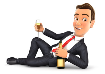 3d businessman lying on the floor with champagne