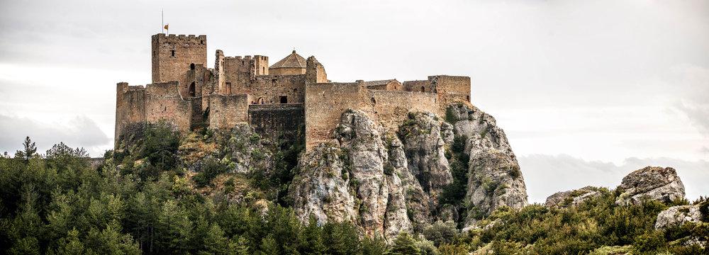 Landscape with Loarre Castle in Huesca, Aragon in Spain