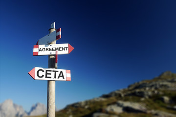 CETA agreement written on road sign. At the top of the agenda co