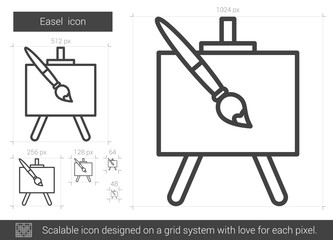 Easel line icon.