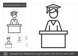 School graduation line icon.