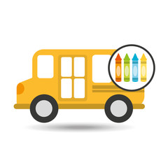 school bus icon crayons graphic vector illustration eps 10