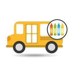 school bus icon crayons graphic vector illustration eps 10