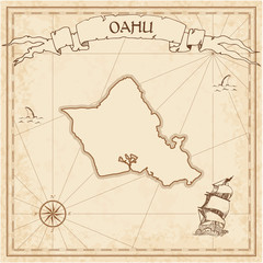 Oahu old treasure map. Sepia engraved template of pirate island parchment. Stylized manuscript on vintage paper.